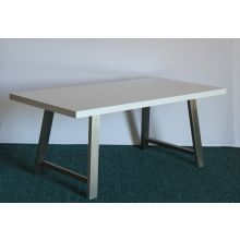 High Gloss White Dining Table with Brushed Stainless Steel Legs
