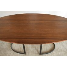Oval Dining Table In Light Walnut With Curved Metal Base