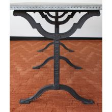 Industrial Metal Dining Table with Trestle Base