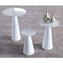 High Gloss White Tall Tower End Table