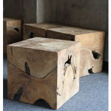 Natural Teak Cube Side Table