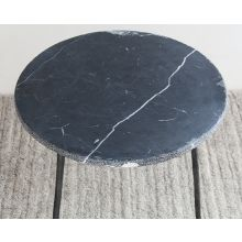 Medium Black Marble End Table with Hammered Steel Base