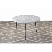 Low Gray Marble End Table with Hammered Steel Base