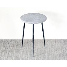 Tall Gray Marble End Table With Hammered Steel Base