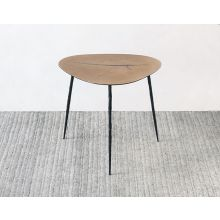 Low White Oak End Table with Forged Steel Legs