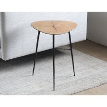 Tall White Oak End Table with Forged Steel Legs