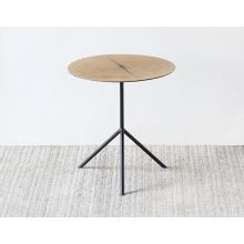 White Oak Tripod End Table with Steel Legs