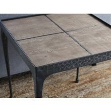 Hammered Iron End Table with Reclaimed Pine Top