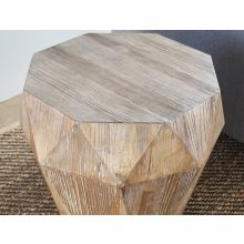 Reclaimed Elm Faceted End Table