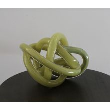 Large Pea Green Hand Blown Glass Wrap Object - Cleared Décor
