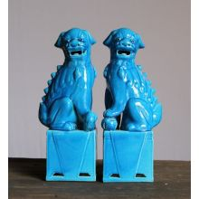 Pair of Turquoise Sitting Foo Dogs