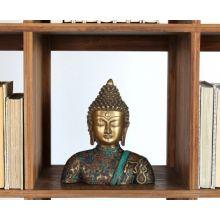 Brass Buddha with Stone Inlay