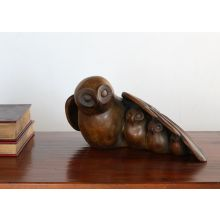 Wood Finish Owl Family