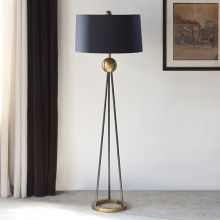 Antique Brass and Black Iron Floor Lamp