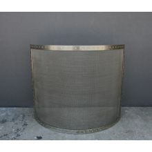 Curved Iron Mesh Riveted Brass Fireplace Screen