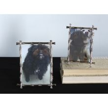 Set of 2 Silver Bamboo Picture Frames - 4x6 and 5x7