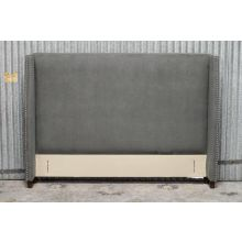 Yale Upholstered Queen Headboard in Charcoal Gray with Pewter Nailhead Trim