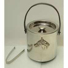 Steeplechase Ice Bucket with Lid and Tongs
