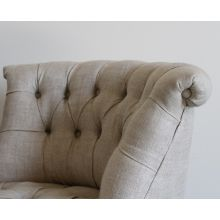 Natural Linen Tufted Pouf Chair