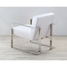 White Leatherette and Polished Stainless Steel Lounge Chair
