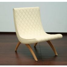 Ivory Quilted Armless Chair