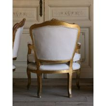 Vintage Louis XV Gold Gilt Upholstered Lounge Chair