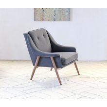 Parry Lounge Chair in Dark Gray with Walnut Legs