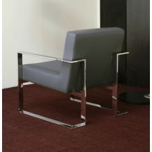 Gray Leatherette and Polished Stainless Steel Lounge Chair
