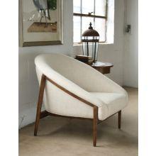 Oatmeal Woven Barrel Chair with Walnut Legs