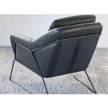 Jasper Lounge Chair in Antique Black Leather with Iron Frame
