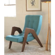 Aqua Tufted Lounge Chair with Walnut Frame