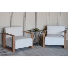 White Oak Contemporary Lounge Chair with Ivory Fabric Upholstery