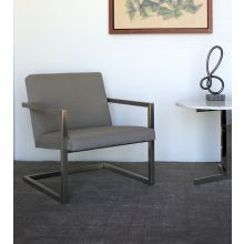 Dove Grey Lounge Chair With Brushed Steel Frame