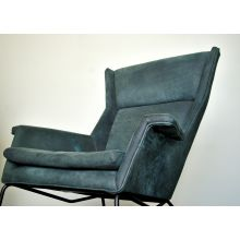 Modern Suede Lounge Chair In Dark Teal