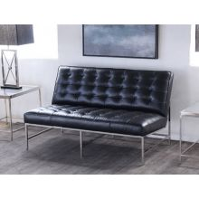 Mitchell Gold Major Love Seat in Black Leather