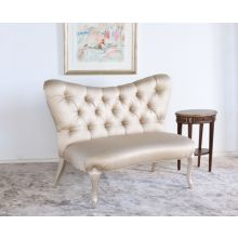 Tufted Satin Butterfly Back Settee