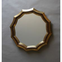 Scalloped Walnut Mirror with Antique Brass Foil