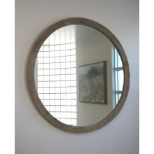 Large Round Reclaimed Natural Wood Mirror