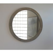 Small Round Reclaimed Natural Wood Mirror