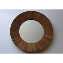 Round Reclaimed Wood Framed Mirror
