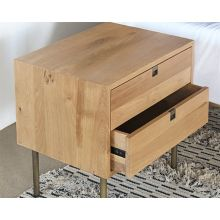 Danish Modern Natural Oak Nightstand With Brass Legs