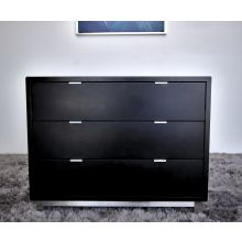 Modern 3 Drawer Nightstand In Onyx