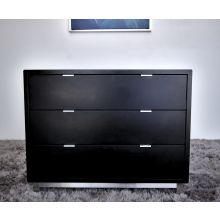 Modern 3 Drawer Nightstand In Onyx