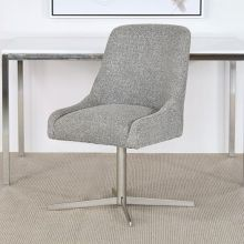 Gray Upholstered Office Chair With Swivel Base