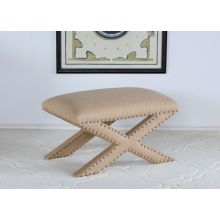 X Base Stool in Burlap with Nailhead Trim