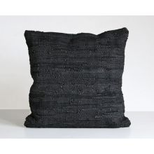 Stitch Black Leather Pillow