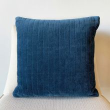 Navy Quilted Velvet Pillow