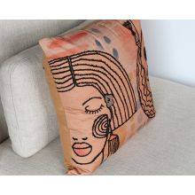 Terracotta And Multi Abstract Face Pillow