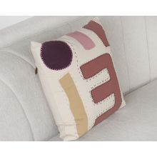 Ivory And Multi Color Geometric Pillow
