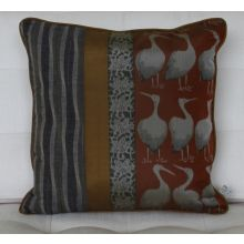 Japanese Heron Square Pillow, Vintage Early 1900's Textiles